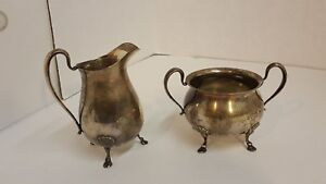Antique Whiting Sterling Silver Footed Creamer And Sugar Bowl 229 4 Grams