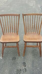 Pair Of Two 2 Vintage Stickley Dining Room Or Card Table Chairs Nice Condition
