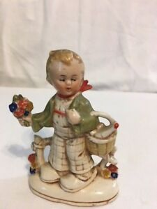 Antique Germany Figurine Boy With Flowers And Basket Victorian
