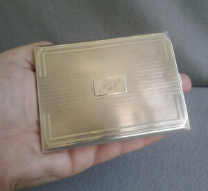 1933 Charles S Green English Sterling Silver Art Deco Engined Cigarette Case