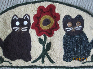 27 Wide Primitive Style Cat Design Hand Hooked Hand Dyed Half Round Rug