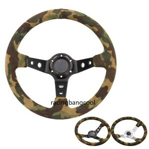 14inch Camo Suede Leather Black Spokes Steering Wheel Drift Steering Wheels