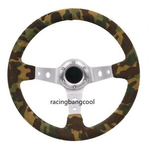 14inch Camo Suede Leather Silver Spokes Steering Wheel Drift Steering Wheels