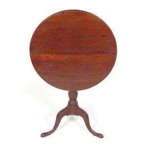 Antique Tilt Top Tea Table Round End Side Mahogany Wooden Folding 19th C