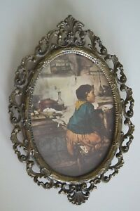 6 Vintage Italy Ornate Brass Metal Frame Or Girl Picture W Curved Plexi Glass