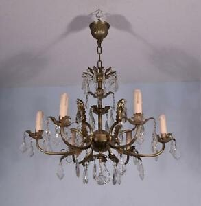French Vintage Silver Painted Bronze Crystal Chandelier Hanging Lamp