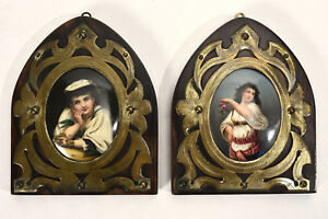 Pair Antique German Paintings On Porcelain Peasant Beauties In Brass Wood Frames