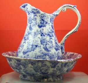 Wash Basin Pitcher Bowl Blue White Floral Country Vintage Style China