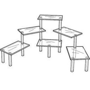 Acrylic Tiered 6 Table Riser Figurine Display Stand Set 8 X 12 Shelves