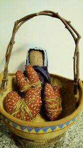 Farmhouse Prairie Doll Primitive Country Valentines Bowl Filler Shelf Setter