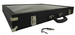 18x15x3 Glass Table Top Black Hinged Display Case With Handle Lock