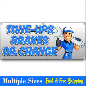 Oil Change Tune Up Brakes Banner Sign Mechanic Muffler Tires Sale 08 Wht Blu