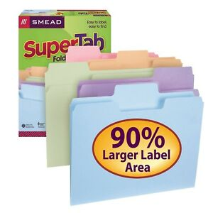 Smead 1 3 Supertab File Folders Assorted Colors letter 50 Ct