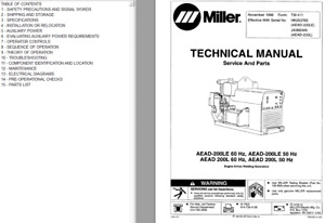 Miller Aead 200le 200l 60hz 50hz technical Manual