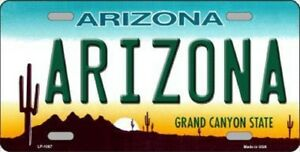 Arizona State Background Metal Novelty License Plate Tag