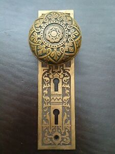 Antique Victorian Brass Door Knob Entry Double Key Back Plate Russell Erwin