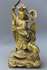 12 China Myth Brass Dragon Jiutian Xuannu Goddess Sword Stand Phoenix Statue