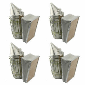 Set Of 4 Stainless Bee Hive Smoker Steel W Heat Shield Beekeeping Equipment Wfs