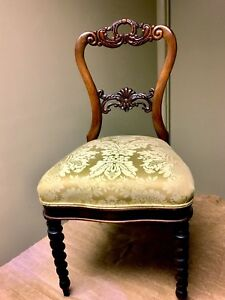 Antique Victorian Chair Barley Twist Legs Carved Backrest New Damask Fabric