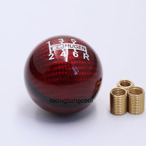 Mugen Red Carbon Fiber Red Shifter Shift Knob 6 Speed For Honda Universal Car