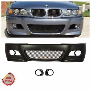 Bmw E46 M3 Style Front Bumper W Mesh W Fog Lights Covers For 1999 2005 Sedan