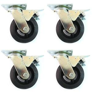 4 Sets Rk Heavy Duty Moldon Rubber Swivel With Brake Casters Iron Wheel 6 x2