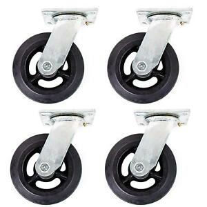 Pack Of 4 Rk Heavy Duty Moldon Rubber Swivel Casters Iron Wheel 8 X 2