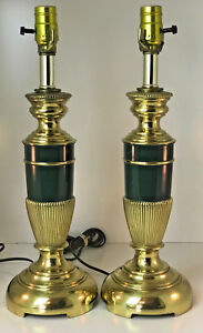 Pair Of 18 Tall Polished Brass Emerald Green Vintage Table Lamps 3 Way Switch