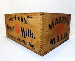 Early 20th C Vint Horlick S Malted Milk Wood Box Crate W Red Blue Stamped Ink