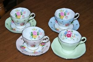 Collection Of 4 Foley English Fine Bone China Cups Saucers Lot 5