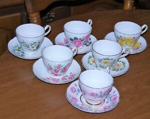 Collection Of 6 Regency English Fine Bone China Cups Saucers Lot 3