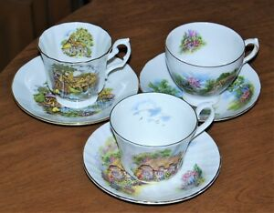 Collection Of 3 English Fine Bone China Cups Saucers Scenic Lot 7