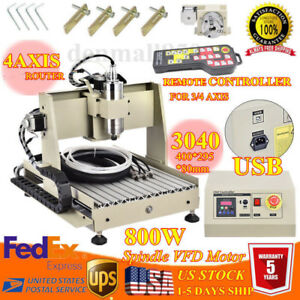 Watercooling 800w Vfd Usb 3040 Router Engraver 4 Axis Mill Drilling Machine Rc