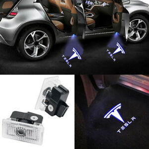 2x Led Logo Door Courtesy Laser Light For 2014 2018 Tesla Model X S 3 Projector