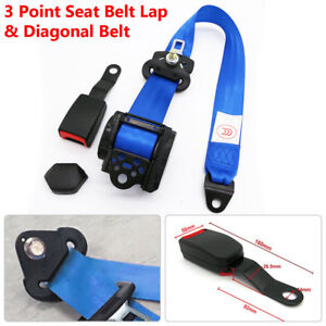 Universal 3 point Car Truck Safety Belt Seat Strap Buckle Metal Plate Suv Rv