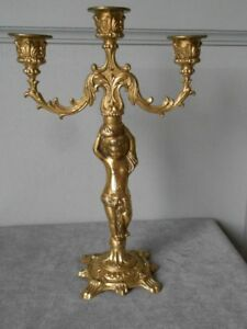 French Antique Bronze Figure Candle Holder Candelabra W Putty