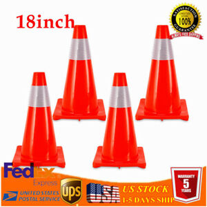 18 Reflective Red Wide Body Safety Cones Construction Sports Traffic Cones