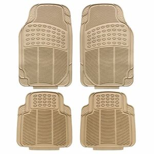 Universal Rubber 4pc Car Floor Mat Rug Rugs Full Set Carpet Mats Truck Suv Beige