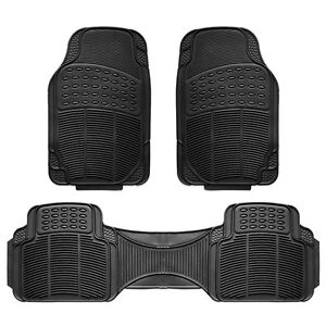 3pc Car Floor Mat Universal Set Carpet Mats Rugs Truck Suv Deluxe Rubber Black
