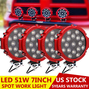 7inch 51w Offroad Round Led Work Lights Pickup 4x4 Boat Bumper Driving 4x