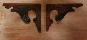2 Antique Carved Wood Corner Brackets Finial Original Victorian Architectural
