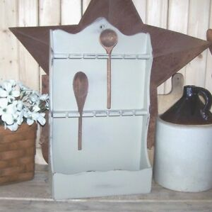 Primitive Vintage Wooden Wall Hanging Spoon Holder Stone Beige Finish W Spoons