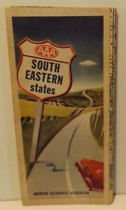 Vintage 1960s Aaa Map Of South Eastern United States
