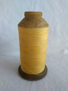 Antique Industrial Wooden Textile Thread Spool With Thread