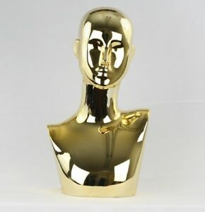 Mn 441gd Chrome Gold Female Abstract Mannequin Head Display Pierced Ears