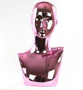 Mn 442pk Chrome Pink Female Abstract Mannequin Head Display