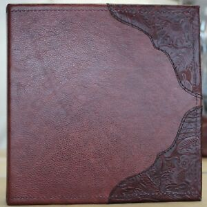 Dark Russet Cowhide Leather 2 3 Ring Binder Burgundy Western Leather Trim