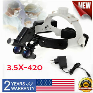 Dental 5w Led Surgical Headlight Lamp With 3 5x Binocular Headband Loupe 60mm