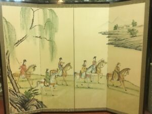 Antique Chinese Watercolor Painting On Silk Folding Screen 4 Panel 60x48