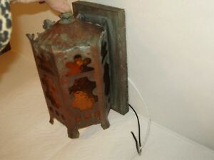 Antique Copper English Tudor Gothic Wall Light Amber Glass 5 Sides Outdoor Indoo